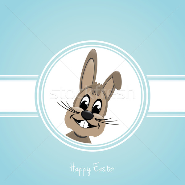 Vrolijk pasen bruin bunny Blauw Pasen glimlach Stockfoto © dariusl