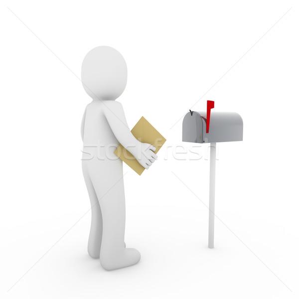 3d human letter mailbox Stock photo © dariusl