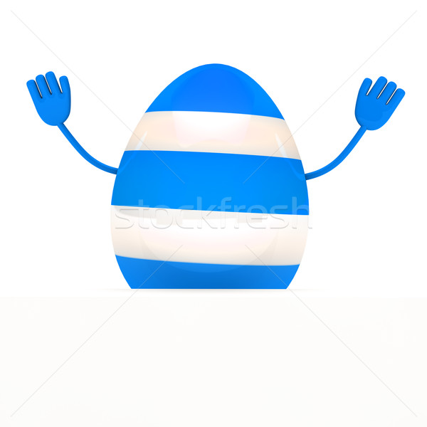 blue easter egg wave hands Stock photo © dariusl