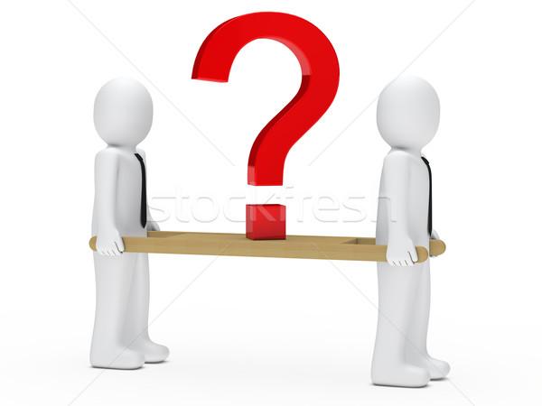 Stockfoto: Vraagteken · zakenmannen · Rood · man · zakenman