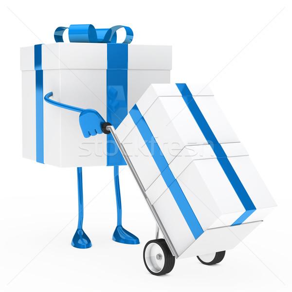 Ajándék doboz tart kéz teherautó kék karácsony Stock fotó © dariusl