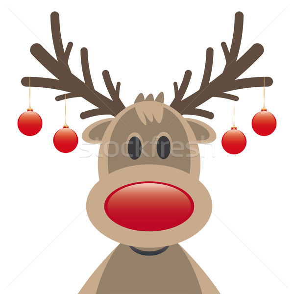 rudolph reindeer red nose christmas balls Stock photo © dariusl