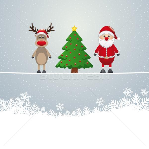 santa reindeer tree twine snowy background Stock photo © dariusl