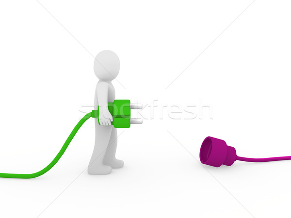 3d human man plug green purple Stock photo © dariusl