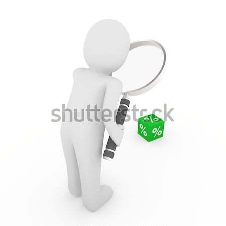 Stock photo: 3d man search sale green