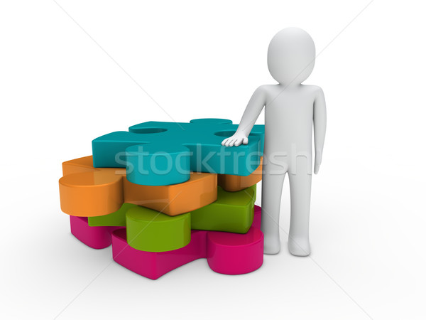 3d man puzzle Stock photo © dariusl
