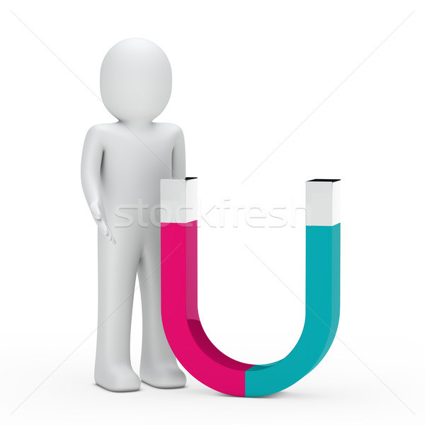 3d man stand prochaine aimant rose vert Photo stock © dariusl