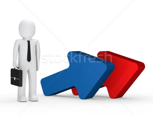 Stockfoto: Zakenman · aktetas · zakenman · stand · volgende · pijl