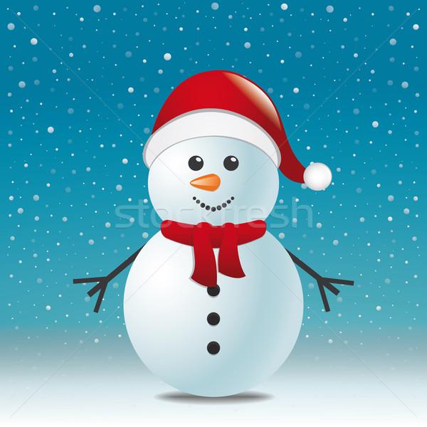 Kardan adam eşarp şapka mavi kar manzara Stok fotoğraf © dariusl