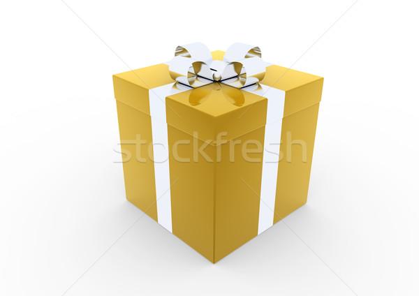 Сток-фото: 3D · золото · серебро · шкатулке · изолированный · белый