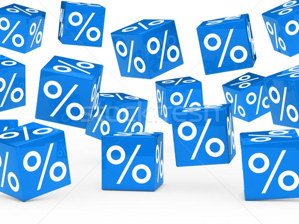 Kék vásár százalék kockák sok ősz Stock fotó © dariusl
