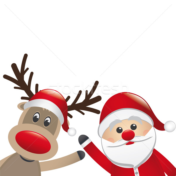 santa claus and reindeer wave hands Stock photo © dariusl
