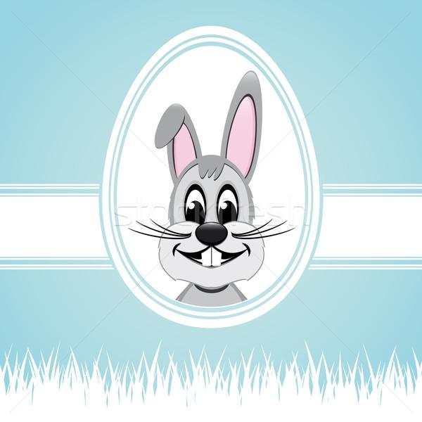 Kellemes húsvétot nyuszi fehér tojás kék húsvét Stock fotó © dariusl