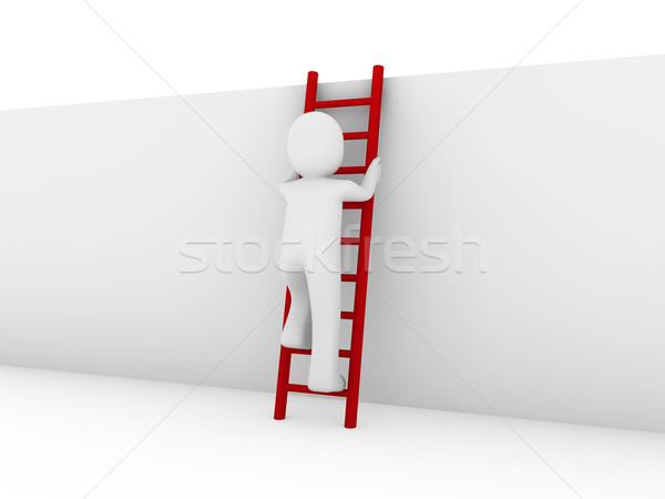 3d human ladder red Stock photo © dariusl