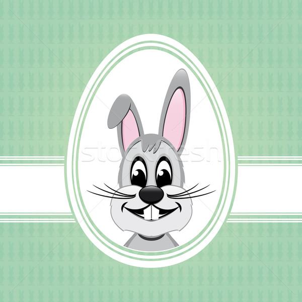 Iyi paskalyalar tavşan beyaz yumurta yeşil Paskalya Stok fotoğraf © dariusl