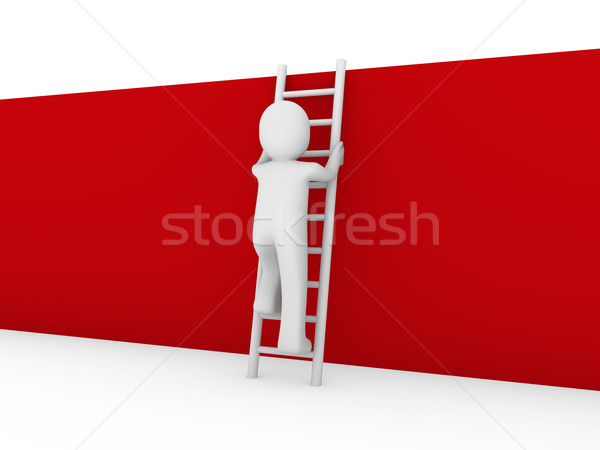 3d human ladder wall red Stock photo © dariusl