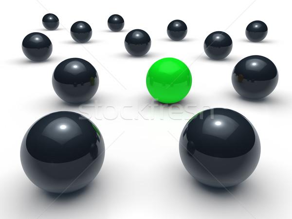 3d labda hálózat zöld fekete gömb csapat Stock fotó © dariusl