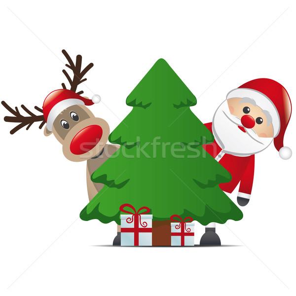 ストックフォト: トナカイ · サンタクロース · クリスマスツリー · ギフト · ギフトボックス · 背景