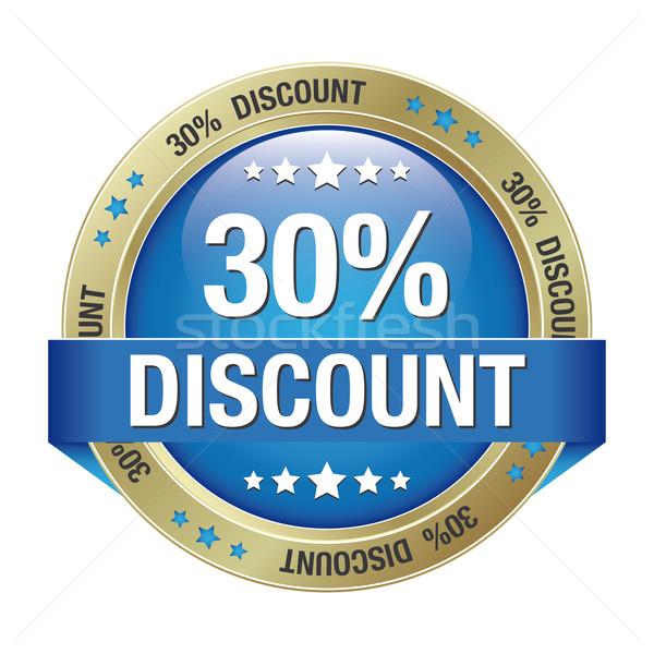 30 percent discount blue gold button Stock photo © dariusl