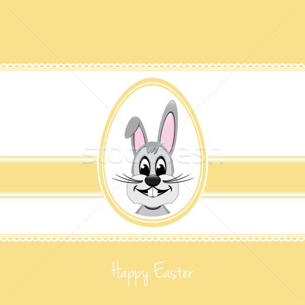 happy easter bunny egg yellow background Stock photo © dariusl