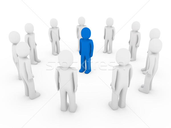 Stock photo: 3d human circle blue