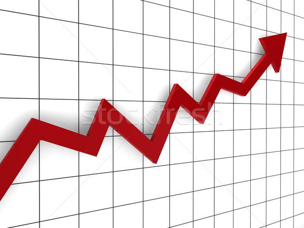 3D grafikon nyíl piros siker pénzügy Stock fotó © dariusl