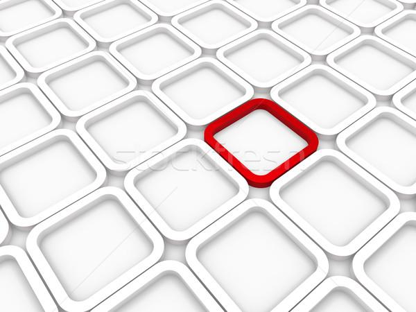 ストックフォト: 3D · キューブ · 赤 · 白 · 構造 · コンピュータ