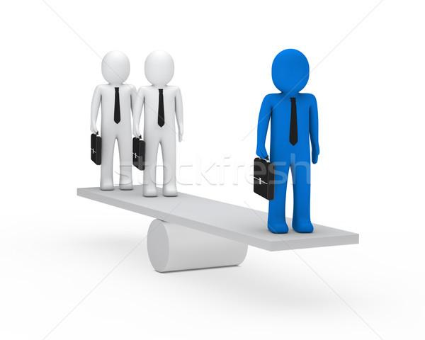 Uomini d'affari equilibrio altalena 3D valigetta blu Foto d'archivio © dariusl