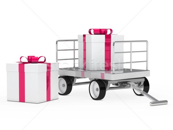 Stockfoto: Geschenkdoos · roze · witte · christmas · partij · verjaardag