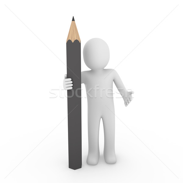 3d human gray pencil Stock photo © dariusl