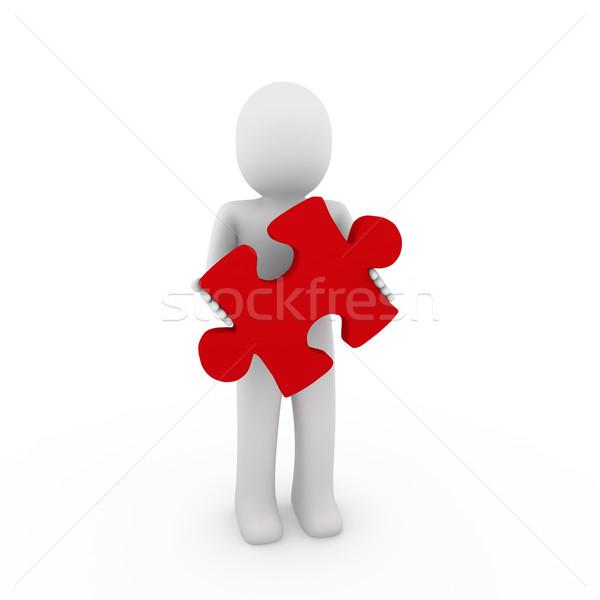 Stock fotó: 3d · ember · piros · puzzle · üzlet · fehér · siker