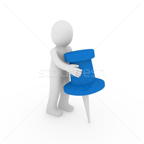 3d ember férfi kék rajzszeg üzlet jegyzet Stock fotó © dariusl