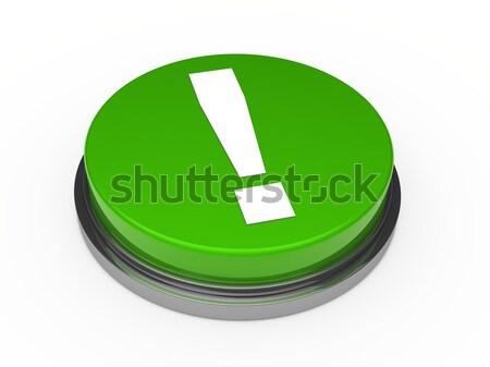 3D knop groene uitroepteken witte internet Stockfoto © dariusl