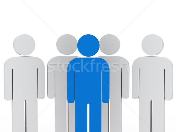 Chef d'équipe bleu 3d man design travailleurs Photo stock © dariusl