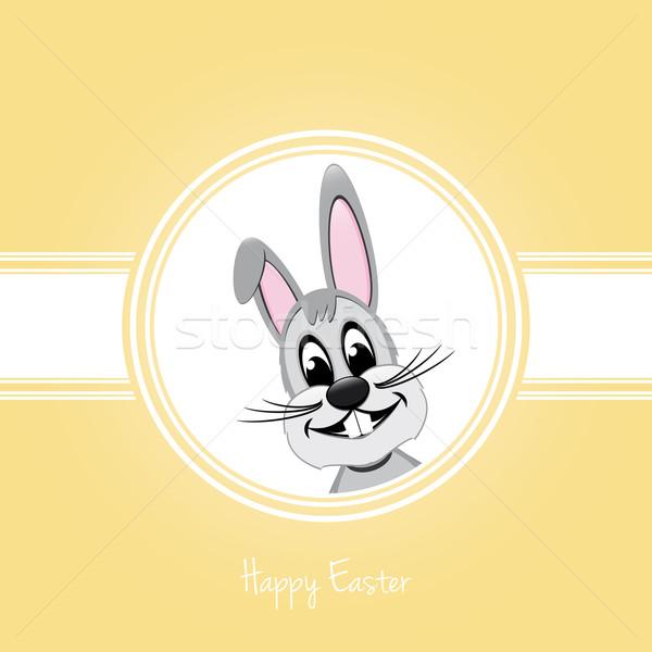 Iyi paskalyalar gri tavşan sarı Paskalya dişler Stok fotoğraf © dariusl