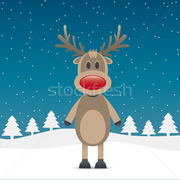 rudolph reindeer with red nose Stock photo © dariusl