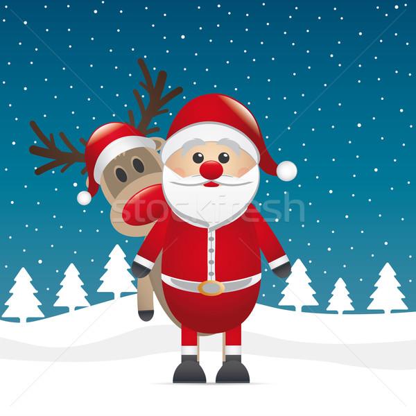 reindeer red nose look santa claus Stock photo © dariusl