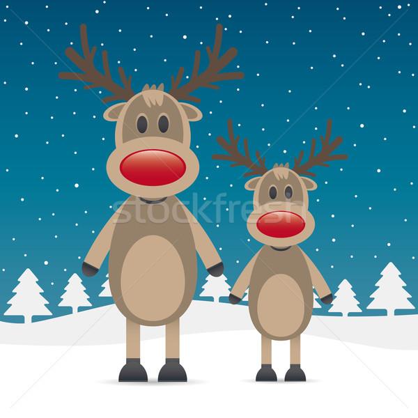 two rudolph reindeer red nose Stock photo © dariusl