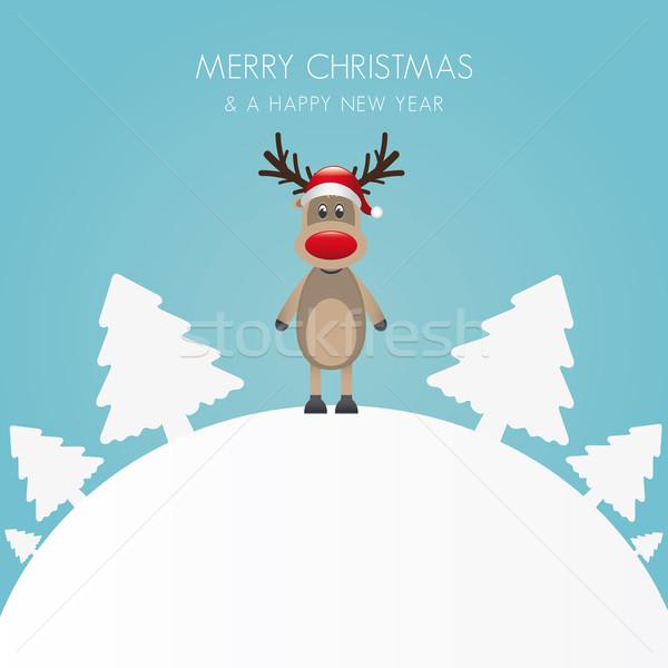 reindeer christmas tree white background world Stock photo © dariusl