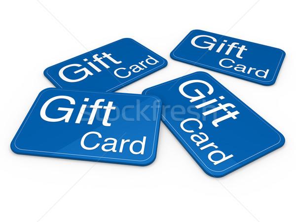 3D Geschenkkarte blau Feier Gruß Verkauf Stock foto © dariusl