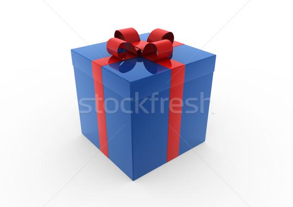 3D 青 赤 白 ギフトボックス 孤立した ストックフォト © dariusl