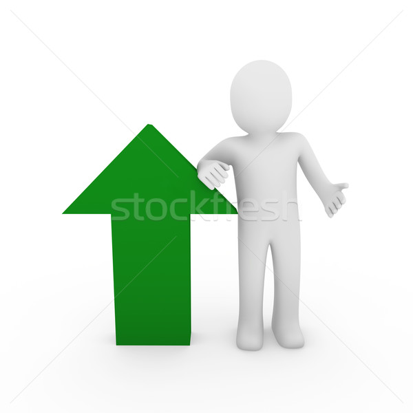 3d human arrow success green high business Stock photo © dariusl