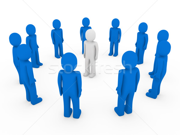 3d human circle blue white  Stock photo © dariusl
