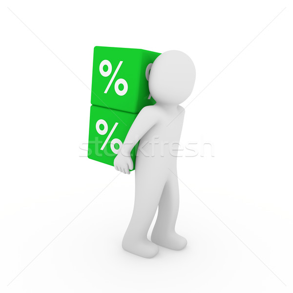 3d human sale cube Stock photo © dariusl