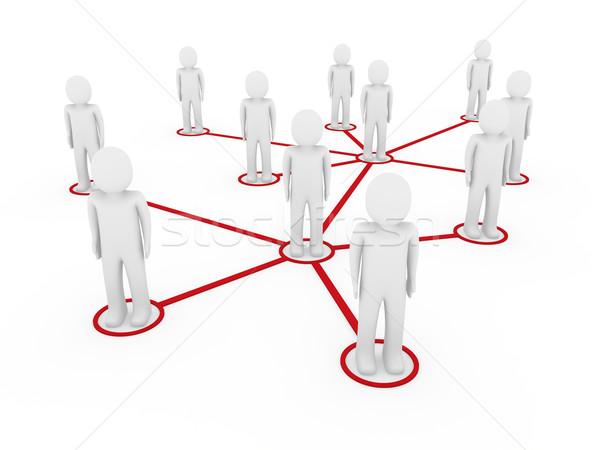 3d men network social red Stock photo © dariusl