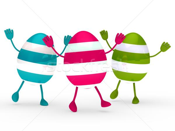 Colorful eggs wave jump Stock photo © dariusl