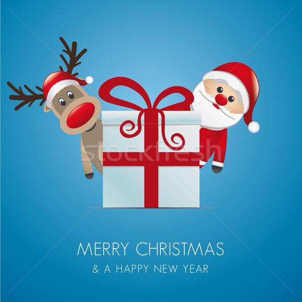 Сток-фото: северный · олень · Дед · Мороз · Рождества · шкатулке · красный · окна