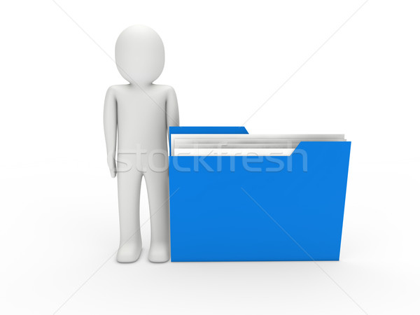 3d man dosya mavi Klasör belge iş Stok fotoğraf © dariusl