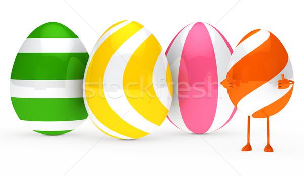 Stock fotó: Húsvéti · tojás · alkat · narancs · fehér · előadás · felső