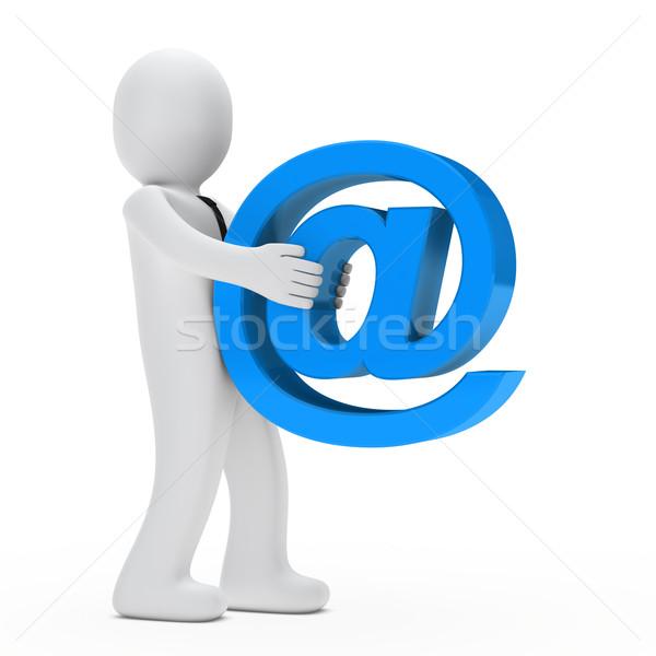 Zakenman groot e-mail teken stropdas business Stockfoto © dariusl